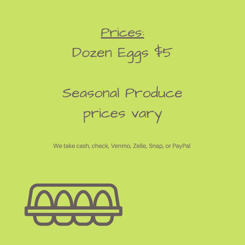 Text says: Prices: Dozen Eggs $5. Seasonal Produce / Prices vary. We take cash, check, Venmo, Zelle, Snap, or PayPal.